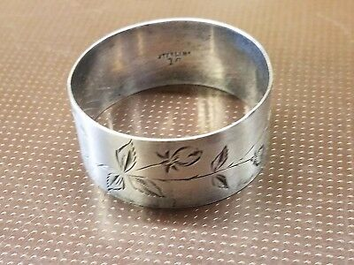 Sterling Silver Napkin Ring Holder, Ornate Flower Etching 9.25 dwt Free Shipping