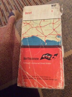 VINTAGE 1962 BARTHOLOMEW HALF INCH CLOTH MAP SHEET # 4 Dorset