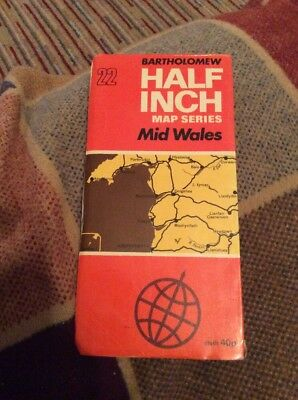 VINTAGE 1973 BARTHOLOMEW HALF INCH CLOTH MAP SHEET # 22 Mid Wales