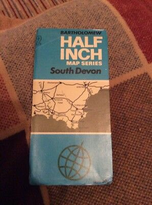 VINTAGE 1973 BARTHOLOMEW HALF INCH CLOTH MAP SHEET 2 South Devon
