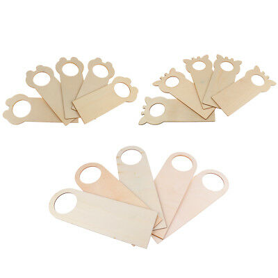 5pcs Natural Wooden Door Hanging Ornaments Wall Home Decoration Kids Craft Gifts