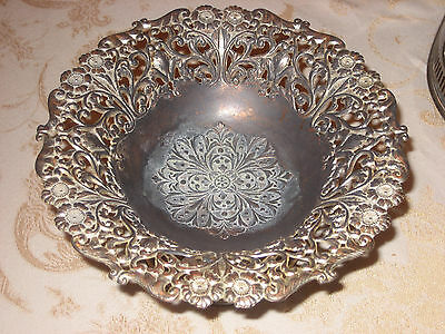 Ornate Silverplate   Bowl  1940's silver plate Hallmarks Occupied Japan