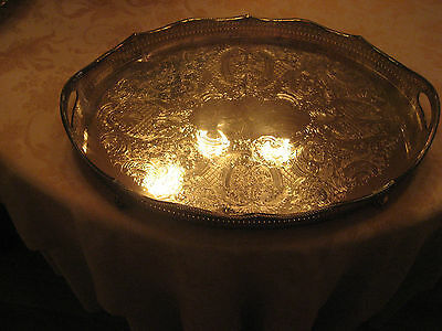 Ornate Silverplate Tray England 1912 Hallmarks Menorah SILVER PLATE