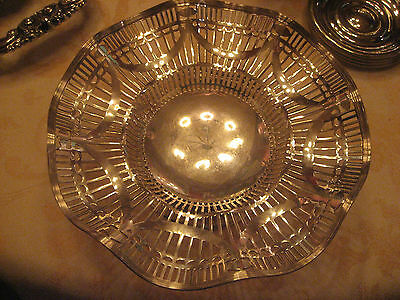 Ornate Silverplate  Sheffield Bowl 1920's to 1940's silver plate Hallmarks