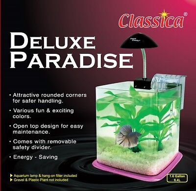 Betta Paradise Pink 6.4 Litre Aquarium Fish Tank Nano Starter Kit Light System
