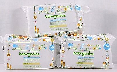 (3) Babyganics Face- Hand & Baby Wipes- Fragrance Free- 100 Ct ea - (300 Total)