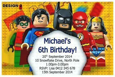 20 X LEGO SUPERHEROES BIRTHDAY PARTY PERSONALISED INVITATIONS FREE MAGNETS