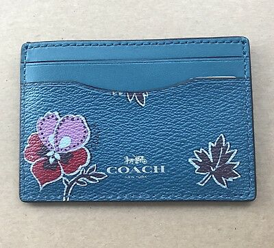 New Coach Wildflower Printed Card Case Credit Card Holder Mini Wallet 12773 Seal