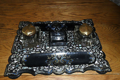 Victorian Papier Mache & Mother of Pearl Inlaid Desk Stand with Twin Inkwells AF