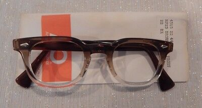 Vintage American Optical Hybrid Stadium Brown 44/22 Men's Plastic Eyeglass Frame