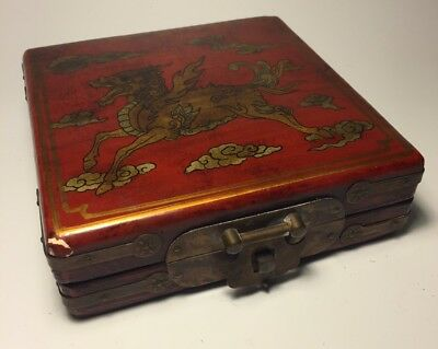 Antique Chinese Portable Compass in Lacquered Box