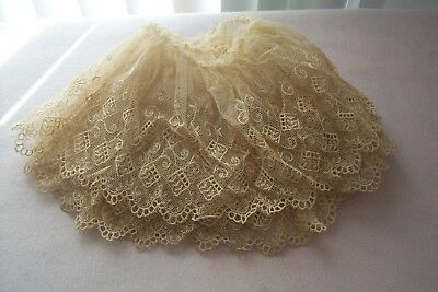 Vintage Beautiful Antique Victorian  1800s Hand Embroidered Net Lace Trim