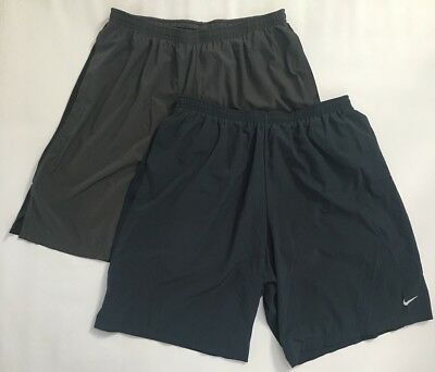 Lot of 2 Nike Men's Dri-Fit Running Shorts Size XL Extra Large Lined Gray Blue