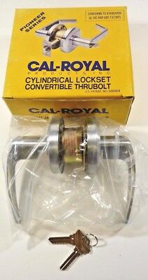 CAL-ROYAL Cylindrical Lockset Convertible Thrubolt SL-03 US26D Lever Lock NEW