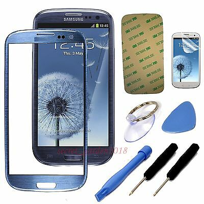 Blue Outer Screen Glass Lens Replacement For Samsung Galaxy S3 SIII i9300 i9305