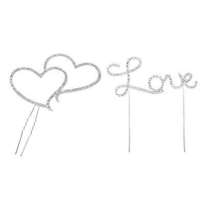 Love Letter & Double Heart Rhinestone Cake Topper Decoration for Cakes B7C4