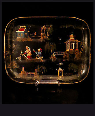 A Fine Small French Black Lacquer Chinoiserie Tole Tray, 2nd Half, 19th C. 22x30