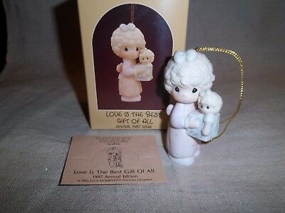 """Special 1987 Issue """" Love Is The Best Gift Of All """" Precious Moments Ornament"""