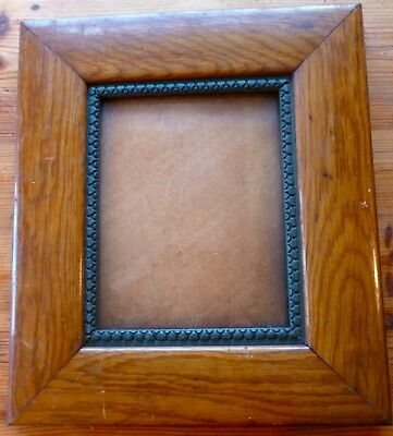 Antique VICTORIAN Chestnut Thick Heavy FRAME Glass Wood Backing