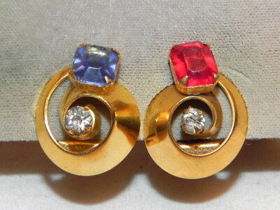 Vintage Art Deco Pair 30s Red Blue Rhinestone Gold Tone 2 Dress Clips Gift Box