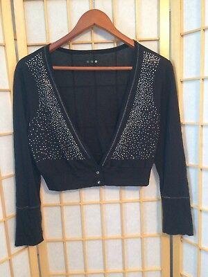 Three Dots Size L Dancewear Layering Open Top Long Sleeve Black & Silver Shimmer