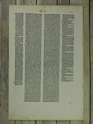 Authentic 1485 Incunabula Leaf--Pope Gratian Decrees