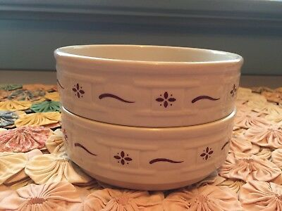 Longaberger Woven Traditions Red Lot of 2  Stackable Cereal Bowls Great!