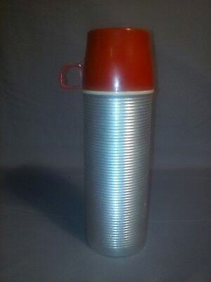 VINTAGE 1960S SILVER  WITH Red TOP  TOP KING SEELEY # 2284  METAL THERMOS