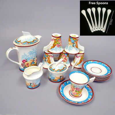 Fine Bone China Pottery Porcelain Elegant Ceramic 21Pcs Coffee Tea Pot Cup Set K