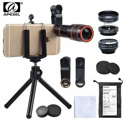 Apexel Phone Camera Lens Kit, 4 in 1, HD 12X Zoom Telescope Lens+ Fisheye+ Wide