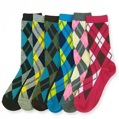 6 Pairs Womens Crew Socks Size 9-11 Scottish Diamond Argyle Plaid Christmas
