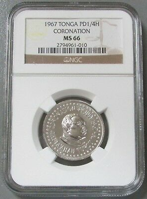 1967 PALLADIUM TONGA 1/2 OZ NGC MINT STATE 66 WORLDS 1st PALLADIUM COINS