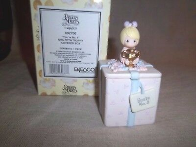 """1999 Precious Moments  """" You're Number 1 """" Covered Trinket Box W Flip Lid"""