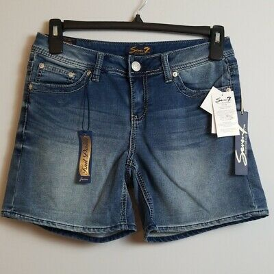 NWT Seven7 Womens Knit Denim Embroiderd Shorts-Powell Blue-16-MSRP-$49.00