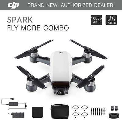 DJI Spark Fly More Combo - Alpine White Quadcopter Drone + $75 eBay Gift Card!