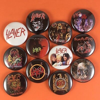"SLAYER 1"" PIN BUTTON lot Kerry King Tom Araya Reign In Blood Thrash Metal"
