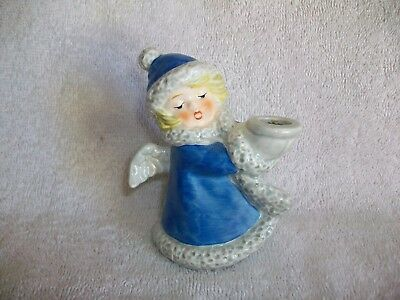 Vintage Goebel 42009-09 Blue Christmas Angel Candle Holder Figurine 1975