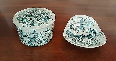 Green Nymolle Art Hoyrup Porcelain Trinket Box And Matching Plate - Denmark