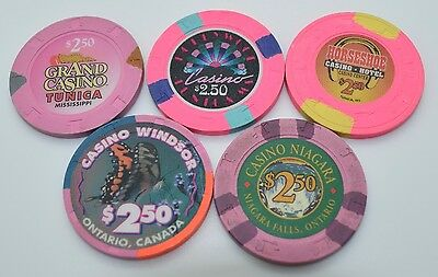 Set of 5 Mix Casinos $2.50 Casino Chips Windsor-Niagara-Horseshoe-Grand Casino