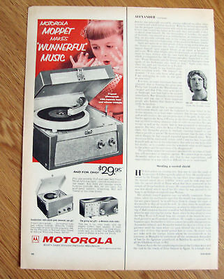 1955 Motorola Portable Phonograph Ad Pint Size Moppet
