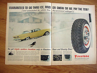 1958 Firestone Tire Ad Ford Chrysler Pontic Cadillac Buick German Shepherd Dog