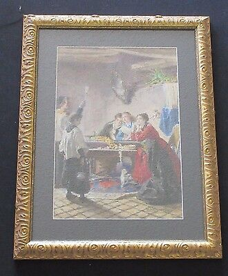Antique 19Th Century Old Master Painting Religious Blessing 3 Women Dog Priest