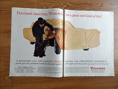 1959 Firestone Tires Ad Launching '59 Models on a great New Kind of Tire