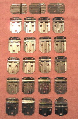 Lot of 23 Vintage Retro Chrome Cabinet Hinges Salvaged Art Deco Kitchen Hardware