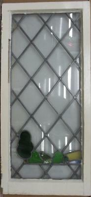 """LARGE OLD ENGLISH LEADED STAINED GLASS WINDOW Pretty Landscape 17.75"""" x 38.25"""""""