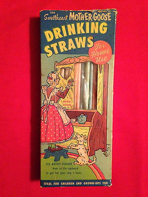 Vintage 1960's Sweetheart Mother Goose Drinking Straws
