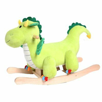 HollyHOME Rocking Toy Green Rocking Dragon Horse Rocker Toy Rocking with Sounds