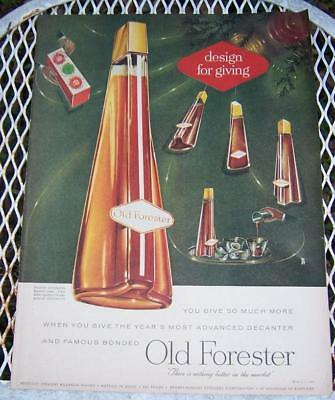 1956 Old Forester Life Magazine Christmas Advertisement  Raymond Lowey Decanter