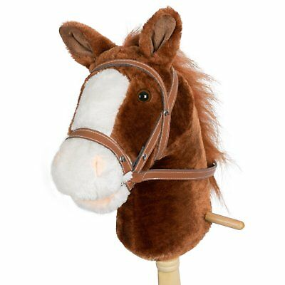 HollyHOME 36 Inches Dark Brown Horse Stick With Sound Toy Stuffed Horse Stick