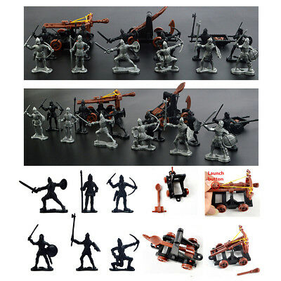 14PCS Plastic Knights Medieval Toy Catapult Crossbow Soldiers Figures Playset